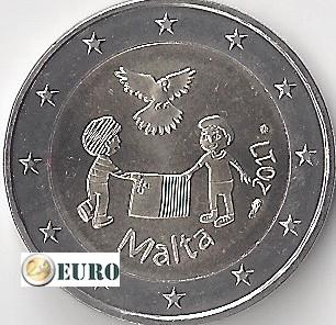 2 euros Malta 2017 - Paz UNC marca monetaria MdP