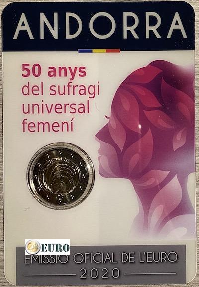 2 euros Andorra 2020 - 50 años sufragio mujeres BU FDC Coincard