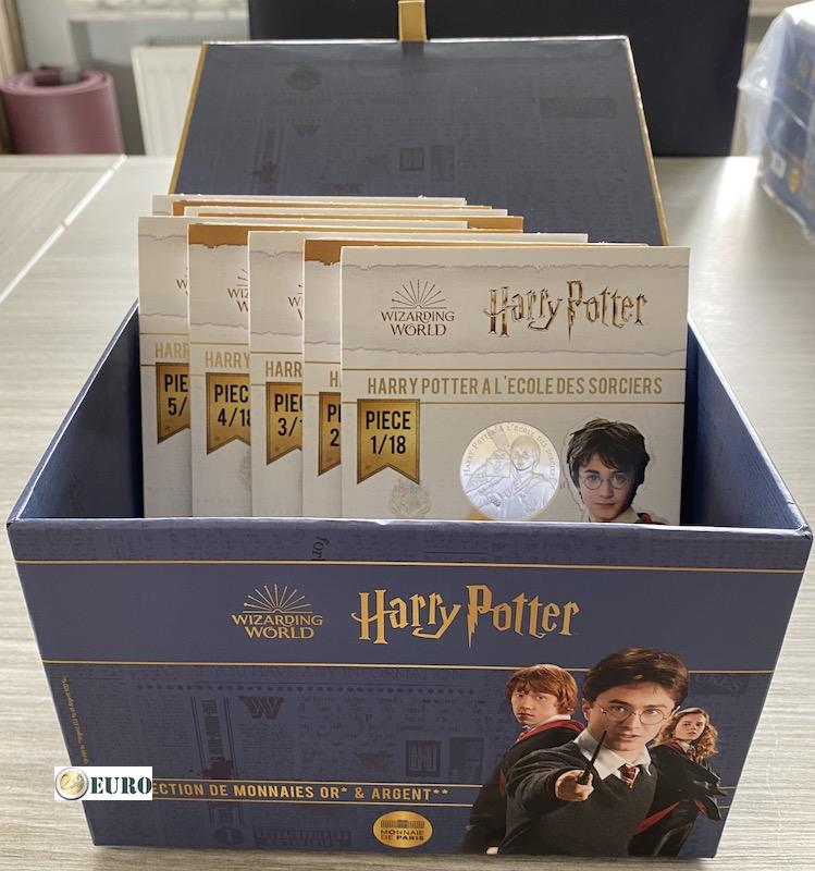 9 x 10 euros Francia 2021 - Harry Potter UNC plata en blister - Volumen 1 + caja