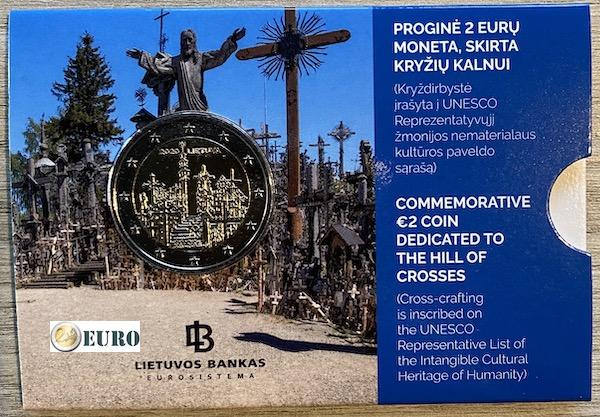 2 euros Lituania 2020 - Colina de las Cruces BU FDC Coincard