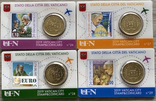 50 céntimos y sello coincard Vaticano 2019 - nr 26 + 27 + 28 + 29