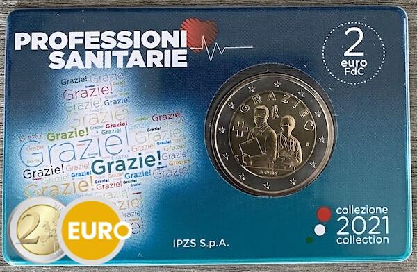 2 euros Italia 2021 - Grazie Profesiones sanitarias BU FDC Coincard