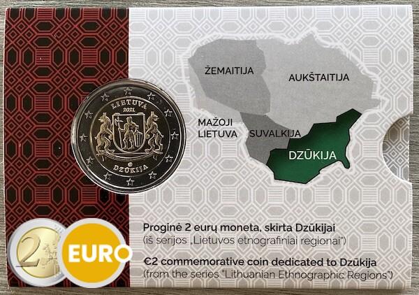 2 euros Lituania 2021 - Región de Dzukija BU FDC Coincard