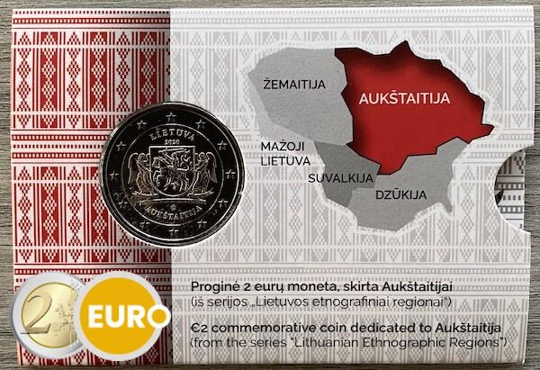 2 euros Lituania 2020 - Región de Aukstaitija BU FDC Coincard